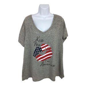 Lane Bryant Top Sz 18/20 Gray Kiss Me I'm American